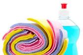 Cleaning rag with bottle dish washing liquid — Stock Photo