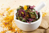 Mortar and pestle with healing herbs, herbal medicine — Stock Photo