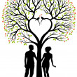 Couple with heart tree, vector background — Stock Vector