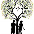 Stock Vector: Couple with heart tree, vector background