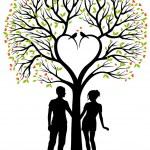 Paar mit Herz, Baum, Vektor-Hintergrund — Stockvektor