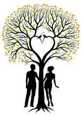 Couple with heart tree, vector background — Stok Vektör