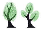 Green fingerprint tree, vector — Stock Vector