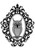 猫头鹰在框架中,矢量 — 图库矢量图片