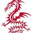 Red dragon, vector - Stock Vector