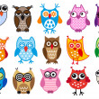 Vector owls — Vettoriali Stock