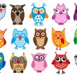 Vector owls — Stockvectorbeeld