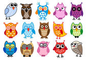 Vector owls — Vettoriale Stock