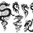 dragon tattoo, vector — Vector de stock