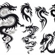 Dragon tattoo, vector - Stok Vektr