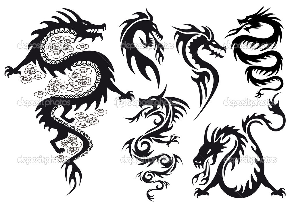 Dragons tattoos with flames, vector set  Stock Vector #8555641