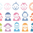Baby and children faces — Stock Vector