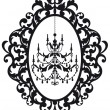 Picture frame with chandelier — Vettoriali Stock