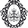 Picture frame with chandelier — Imagen vectorial