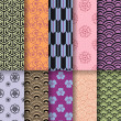 Seamless asian patterns, vector - Stockvektor