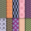 Seamless asian patterns, vector - Stockvectorbeeld