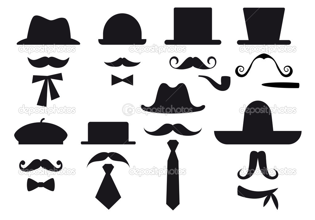 Mustaches, hats and ties, gentleman vector set — ベクター素材ストック #8923142