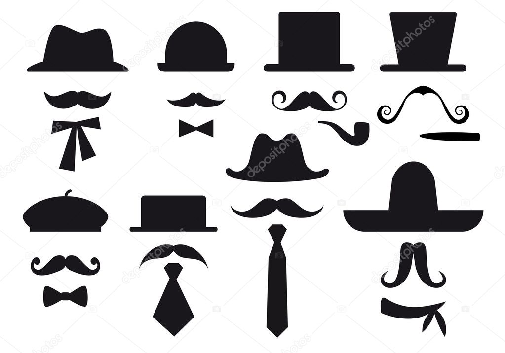 Mustaches, hats and ties, gentleman vector set — Imagen vectorial #8923142