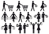 Shopping , vector icon set — Stock Vector