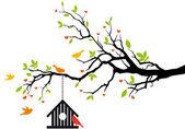 Maison d'oiseau sur l'arbre de printemps, vector — Vecteur