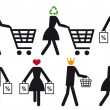 Smart shopper, vector icon set - Stock Vector