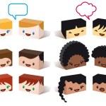 różnorodność avatary, wektor — Wektor stockowy  #9706624