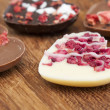 Chocolate valentine hearts — Stock Photo