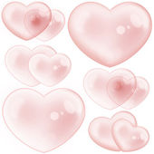 Set of Red Crystal Hearts — Stock Photo