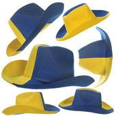 Set of yellow-blue cowboy hat — Stock Photo