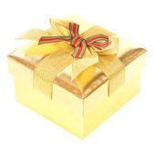 Caja de regalo oro — Foto de Stock