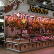 Kiosk with meat on the market in Valencia — Stock Photo