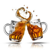 Beer splash in shape of heart isolated on white — Stock Photo
