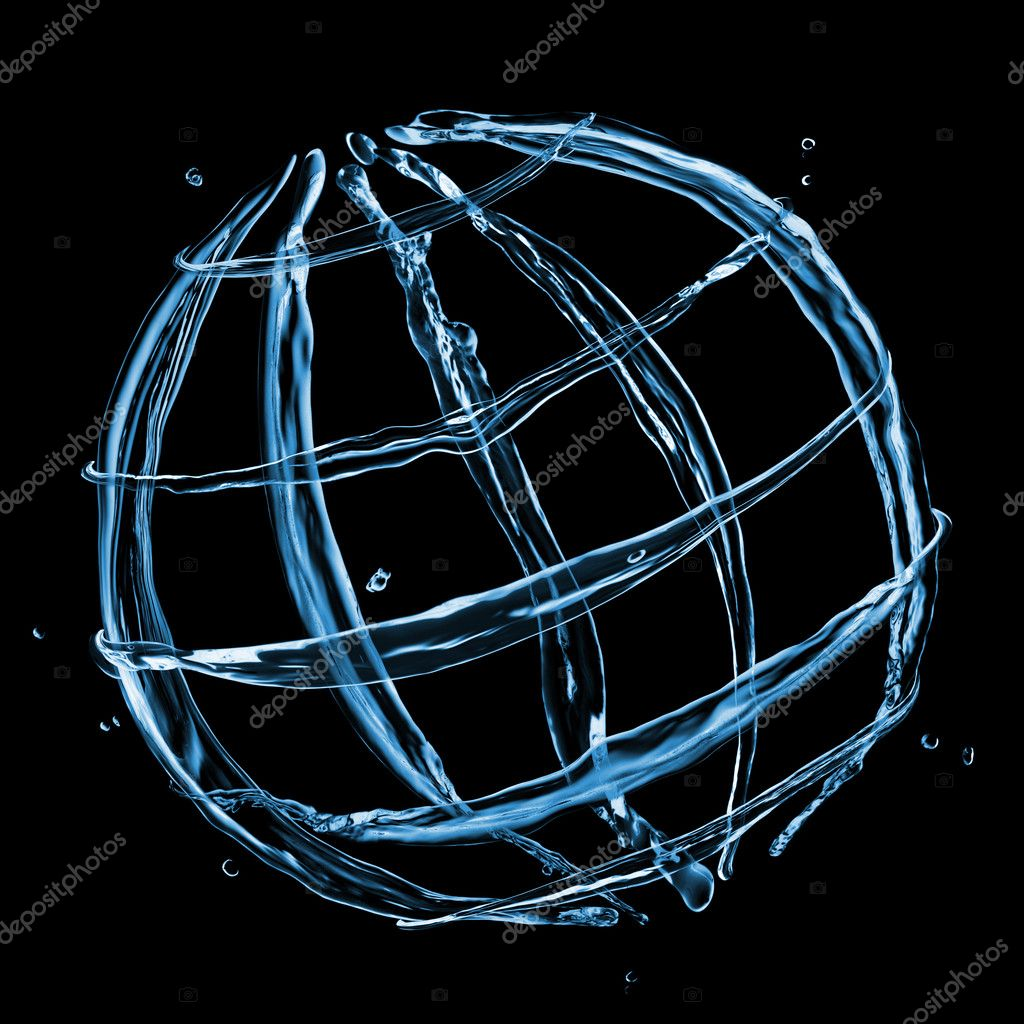 Abstract globe from water splashes isolated on black  Stock Photo #9102202
