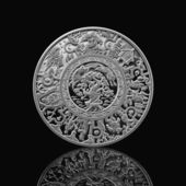 Russian tales silver coin isolated on black — Stock Photo
