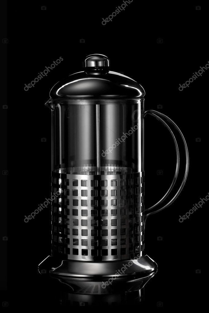 Stainless steel teapot isolated on black — Stock Photo #9468388