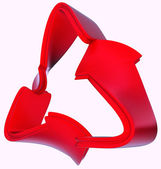 Ecological and recycling concept: red symbol isolated — Stok fotoğraf
