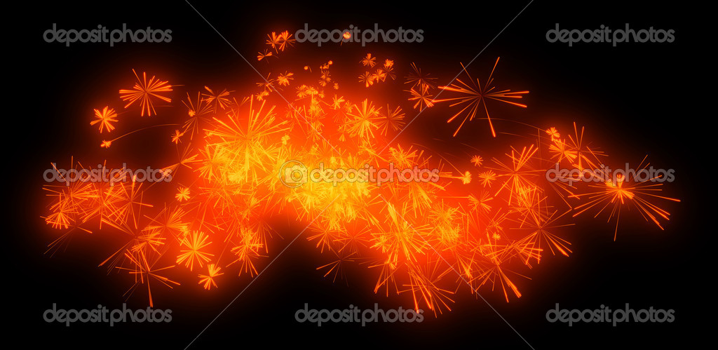 Holiday: orange festive fireworks at night over black — Stock Photo #9286780