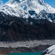 Everest, Nuptse and Lhotse peaks. Gokyo lake and village — Stock Photo