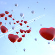 Soaring Balloons in Valentine's day — Stock Photo