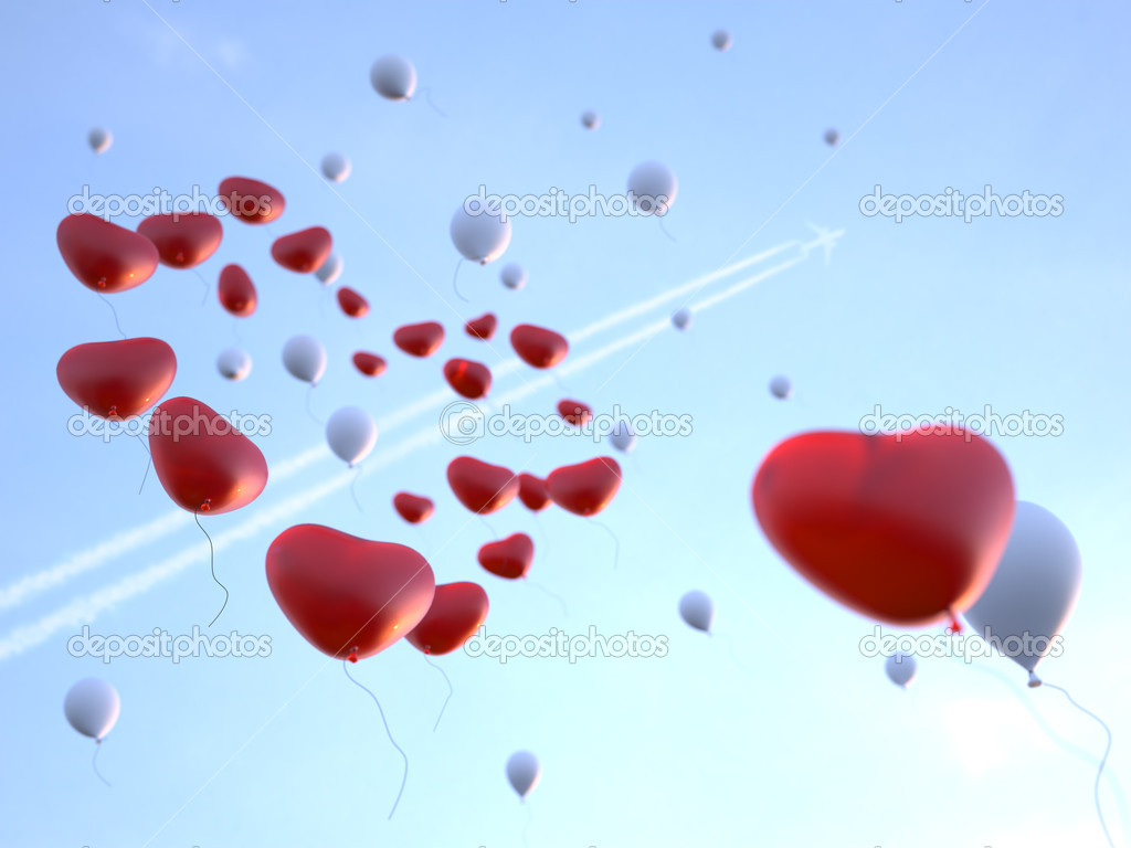 Soaring high in the sky red and white balloons in form of the heart. 3d render. — Stock Photo #8031325