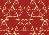 Gold seamless pattern on a red background — Stock Vector