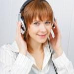 The girl in headphones — Stock Photo