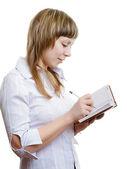 Mladá dívka s notebook — Stock fotografie