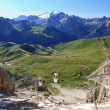 Sella pass from Sassolungo mount — Stock Photo #10451590