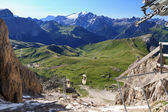 Sella pass from Sassolungo mount — Stock Photo