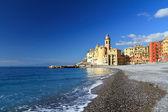 Camogli, seaside and church — Stock Photo