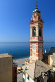 Bell tower in Sori, italy — Stock Photo