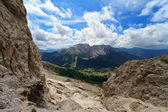 Carezza valley from Vaiolon pass — Stock Photo
