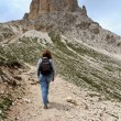 Hikers on Dolomites path — Stock Photo