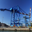 Crane in Genova port - Stock Photo